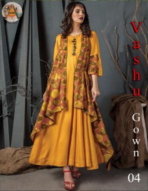 yellow cotton rayon |length 54 |flair 3m fabric maslin digital print work ethnic