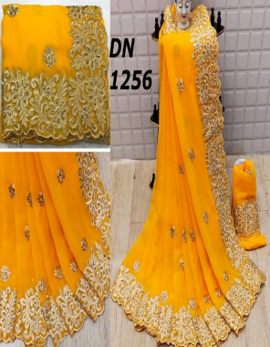 yellow saree -georgette  fabric embroidery diamond work party wear
