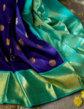 blue rama soft lichi silk fabric weaving jacqaurd work festive