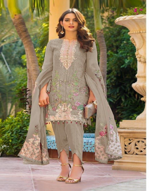 chiku top -heavy fox georgette embroidery seqeunce |bottom +inner -santoon |dupatta -heavy nazmeen |size -max upto 58 |length -max upto 46 |type -semi stitched fabric embroidery sequence work ethnic