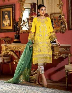 yellow top -pure cotton embroidery | bottom -semi lawn with patch work |dupatta -bhagalpuri silk cotton |type -semi stitched |size -fit upto 60 |length 44  fabric embroidery work ethnic