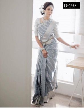 sliver  kanchipuram silk fabric wa work ethnic
