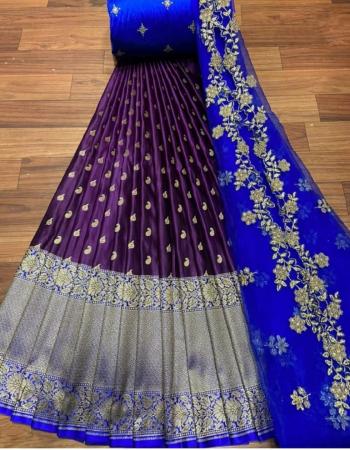 wine lehenga -kanjivaram silk 3m |blouse -banglori satin 1m |dupatta -pure organza 2.20m fabric embroidery jacqaurd work wedding