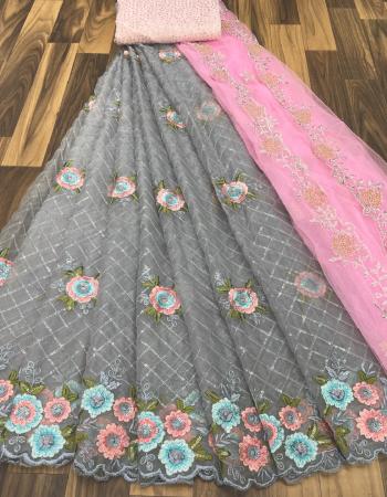 grey lehenga -organza embroidery seqeunce 3m |blouse -banglori satin 0.90m |dupatta -net embroidery 2.5m fabric embroidery seqeunce work party wear