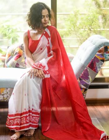 white red saree -cotton |blouse -banglori satin silk fabric printed work party wear