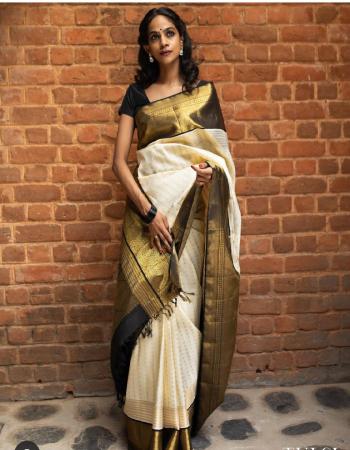 white black soft banarasi lichi silk fabric weaving jacqaurd work festive