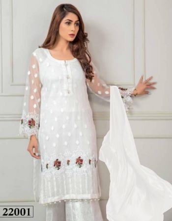 white top- super net embroidery |bottom + inner -santoon |dupatta -super net with peral work |type -semi stitched |size -fit upto 60 |length 50 fabric embroidery work party wear