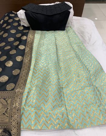 sky lehenga -banarasi brocade with cancan inner semi stitch |blouse -full stitched pure banarasi silk |dupatta -pure banarasi silk |length 42 |waist -40 to 42  fabric weaving jacqaurd work festive