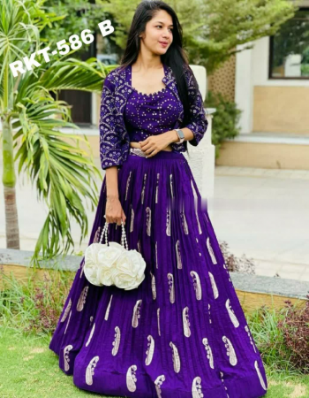 purple koti -rayon with seqeunce work 1m unstitch |blouse -banglori satin with mirror embroidery front back both work unstitch | lehenga -rayon foli print flair 3m full stitched upto 46 fabric embroidery mirror work work festive