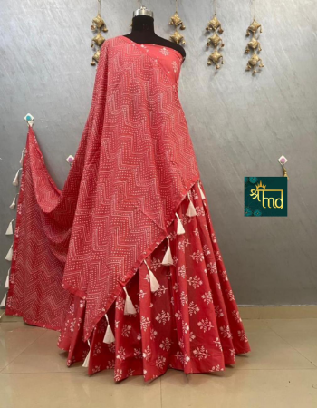 red lehenga -soft pure cotton flair 6to7m  size 42  blouse dupatta -pure cotton fabric printed work festive