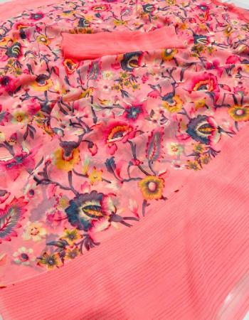 light pink weightless soft silky fabric printed work wedding