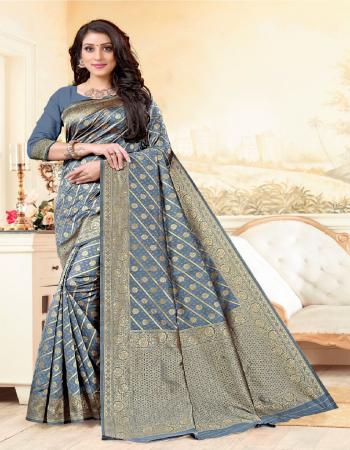grey soft banarasi silk fabric weaving jacqaurd work wedding