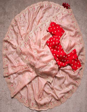 peach saree -soft heavy organza silk |blouse -soft fentam silk fabric embroidery thread seqeunce coding dori work work party wear