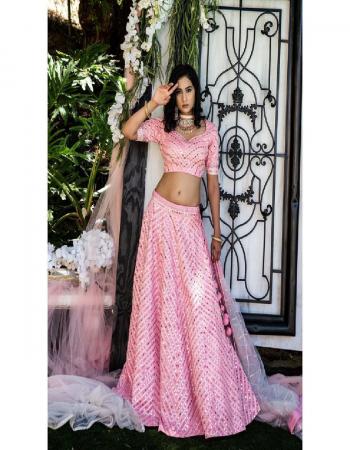 pink lehenga -fentam size upto 42  choli -fentam 0.80m  dupatta -net fabric embroidery paper mirror work work casual
