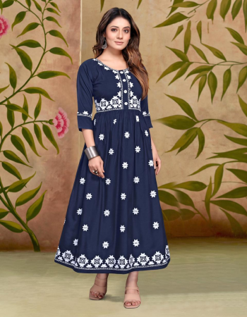 blue heavy rayon |length 48 fabric embroidery work wedding