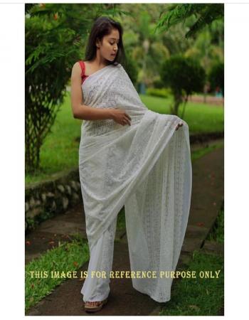 white saree -heavy georgette |blouse -silk fabric lucknowi chikankari work festive