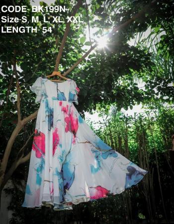 white georgette | length 54 |fliar 3.5m fabric printed work wedding