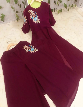 marron georgette kurti with bottom fabric embroidery thread work party wear