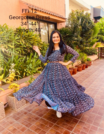 blue georgette |length 52 |flair -4m fabric printed work ethnic