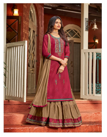 maroon top-jam silk with embroidery work |bottom -pure cotton lehenga with embroidery readymade lehenga c|dupatta -nazmeen with four side less fabric embroidery work party wear