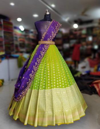 parrot lehenga -kanjivaram silk 3m |blouse -banglori 0.80m |dupatta -organza 2.20m fabric embroidery jacqaurd  work ethnic