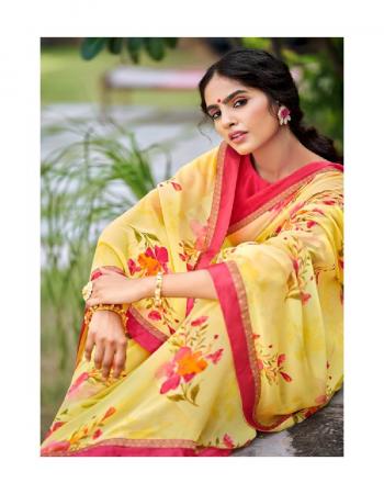 yellow georgette fabric digital printed work casual