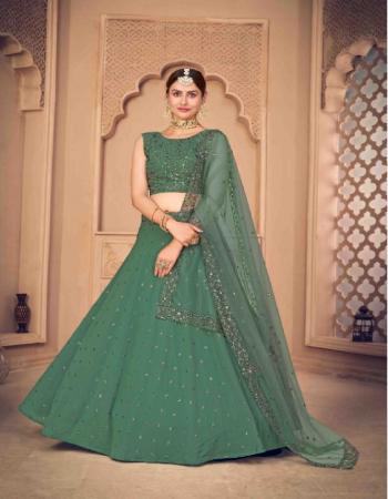 green lehenga -georgette upto 42 bust ant waist 1m | choli -georgette |dupatta -net 2.30m fabric thread seqeunce embroidery  work wedding