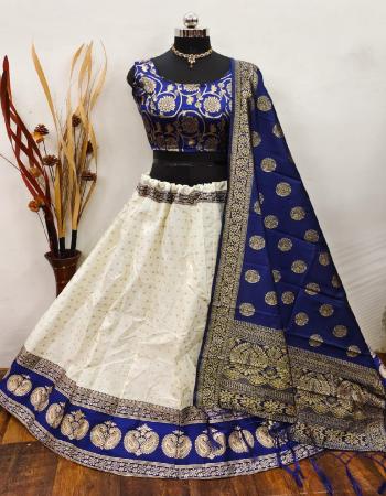 white blue lehenga -brocade banarasi silk with cancan inner semi stitched |blouse -full stitched pure banarasi silk |dupatta - pure banarasi silk  fabric weaving jacqaurd  work ethnic