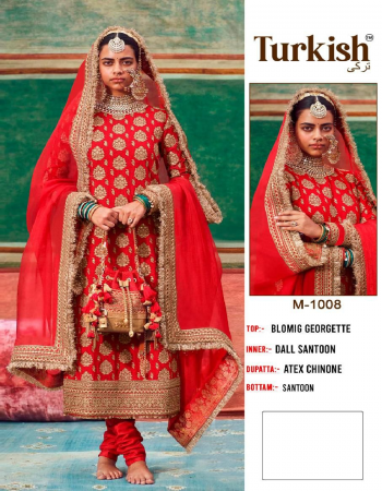 red top-blooming georgette heavy embroidery |bottom + inner -dull santoon |dupatta -heavy chinon embroidery fabric embroidery work wedding
