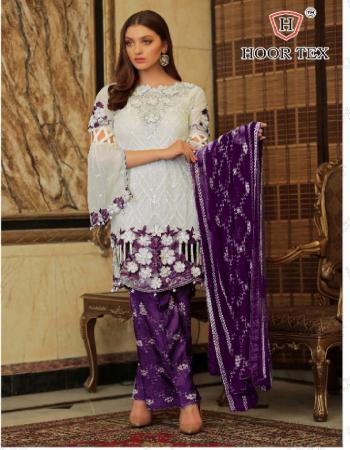 white purple top -fox georgette |bottom +inner -santoon |dupatta -nazmin |length 45 |size 58(9xl) | type -semi stitched fabric embroidery seqeunce  work ethnic