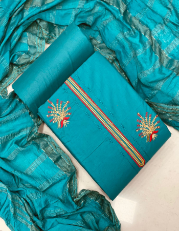 sky  top -cotton multi work 1.90m |bottom -cotton 2.5m |dupatta - cotton shaded chex 2.10m fabric embroidery work running