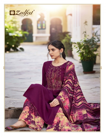 wine top -pure pashmina print with embroidery work 2.50m |bottom -pure pashmina printed 3m |dupatta -pure pashmina shawl 2.30m fabric printed work party wear