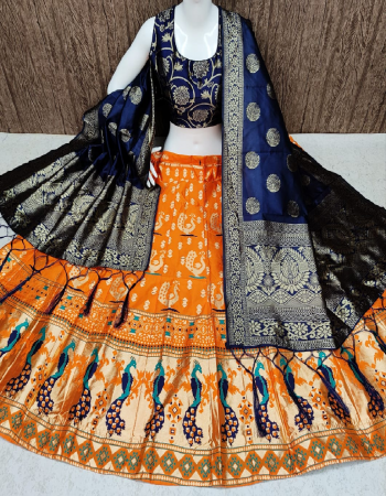 orange lehenga -banarasi brocade with cancan inner semi stitch | blouse -pure banarasi silk full stitched |dupatta -pure banarasi silk fabric weaving jacqaurd  work wedding