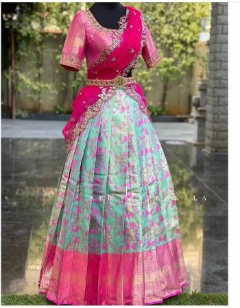 sky lehenga -pure kanjivaram silk 3m |blouse -jacqaurd 1m |dupatta -banarasi 2.20m fabric weaving jacqaurd  work party wear