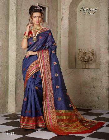 blue cotton silk fabric weaving jacqaurd work casual