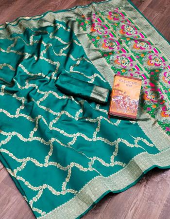 sky rama  pure lichi banarasi silk fabric weaving jacqaurd work wedding