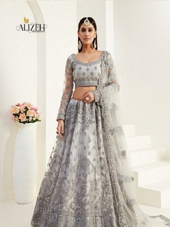 grey net with silk fabric thread and zari work wedding