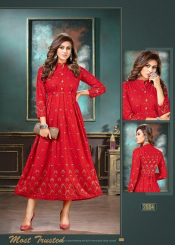 red rayon fabric gold print work casual