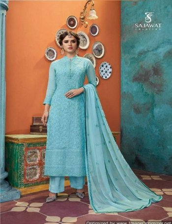 sky georgette fabric embroidery work festival