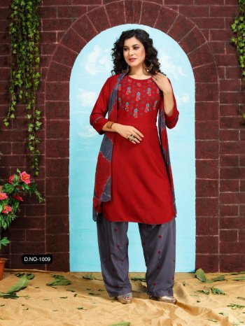 maroon rayon fabric embroidery work casual