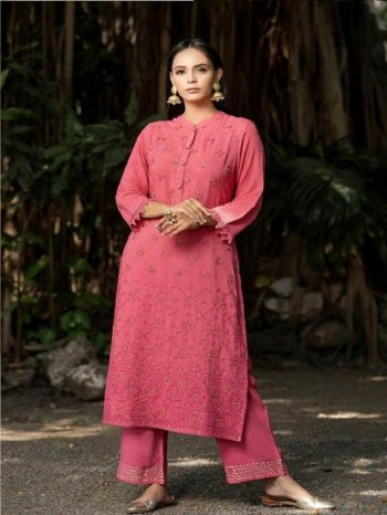 pink rayon fabric lucknowi work work festival