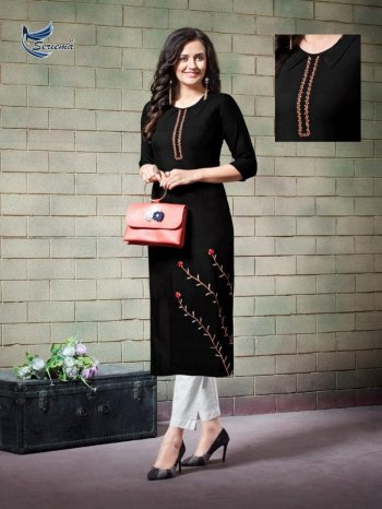 black rayon fabric embroidery work casual