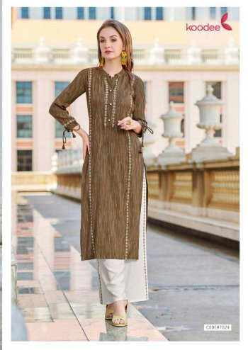 brown rayon fabric embroidery touch up work casual