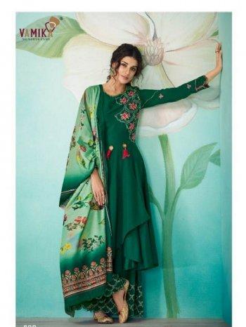 green muslin fabric embroidery work festival