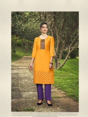 yellow soft cotton fabric embroidery work casual
