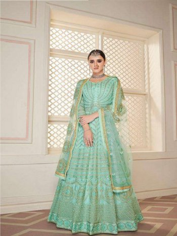 sky georgette fabric embroidery work wedding
