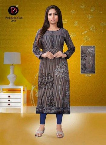 grey pure pashmina fabric printed work casual