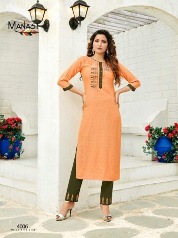 orange rayon fabric embroidery work casual