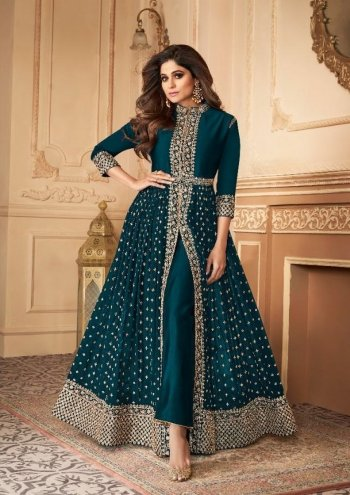 rama green georgette fabric embroidery work casual