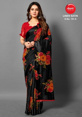 black linen satin fabric printed work ethnc
